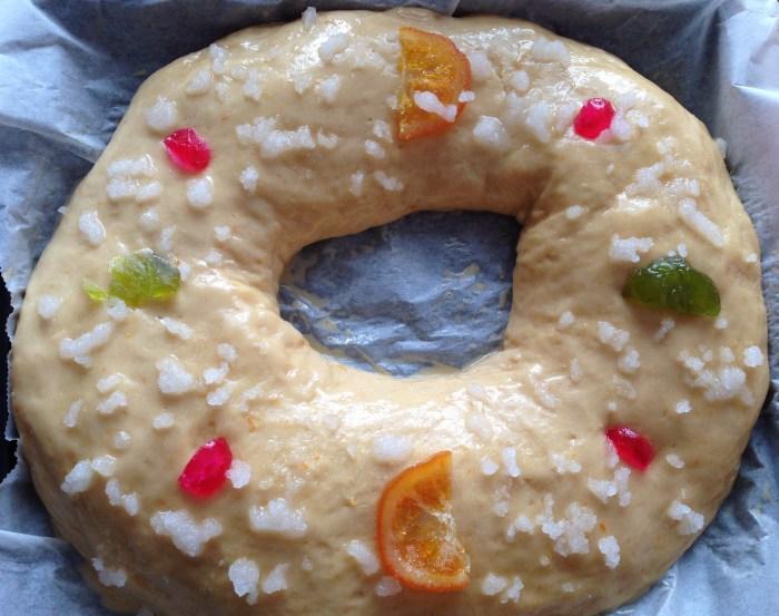Roscón de Reyes sin hornear