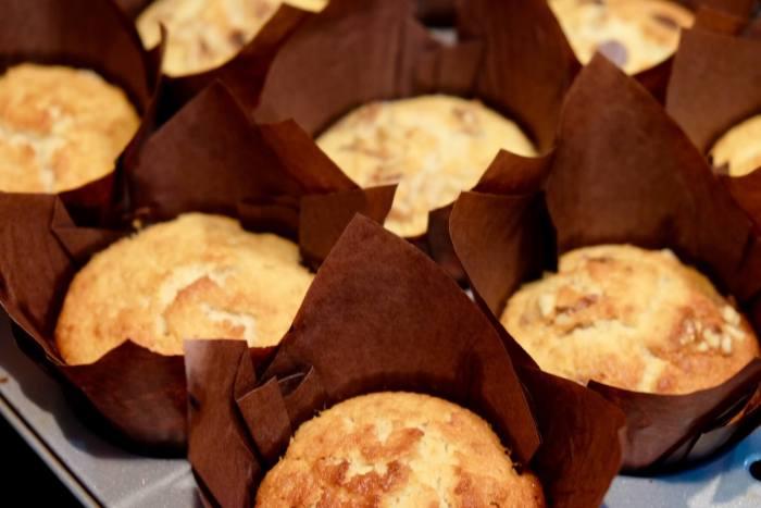 Muffins de leche caliente y plátano