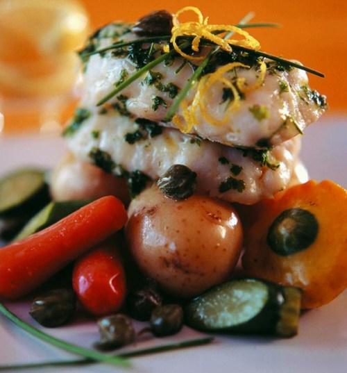 Fish steaks or loins with caper and lemon butter sauce-p876