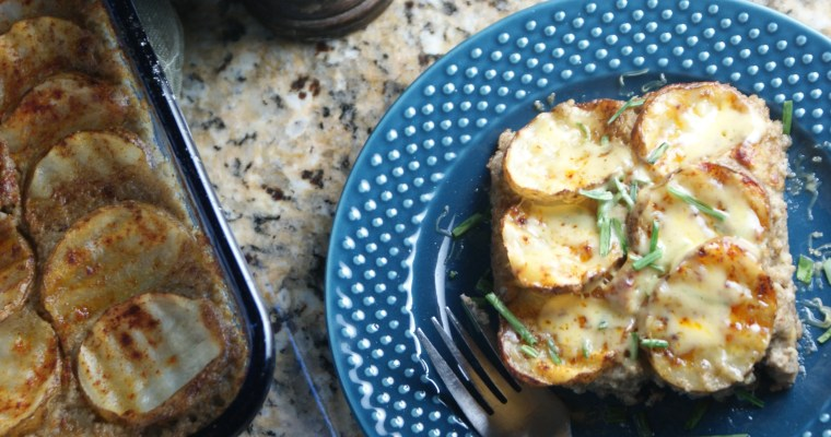 Potato Topped Hotdish (a healthier tater tot hotdish)