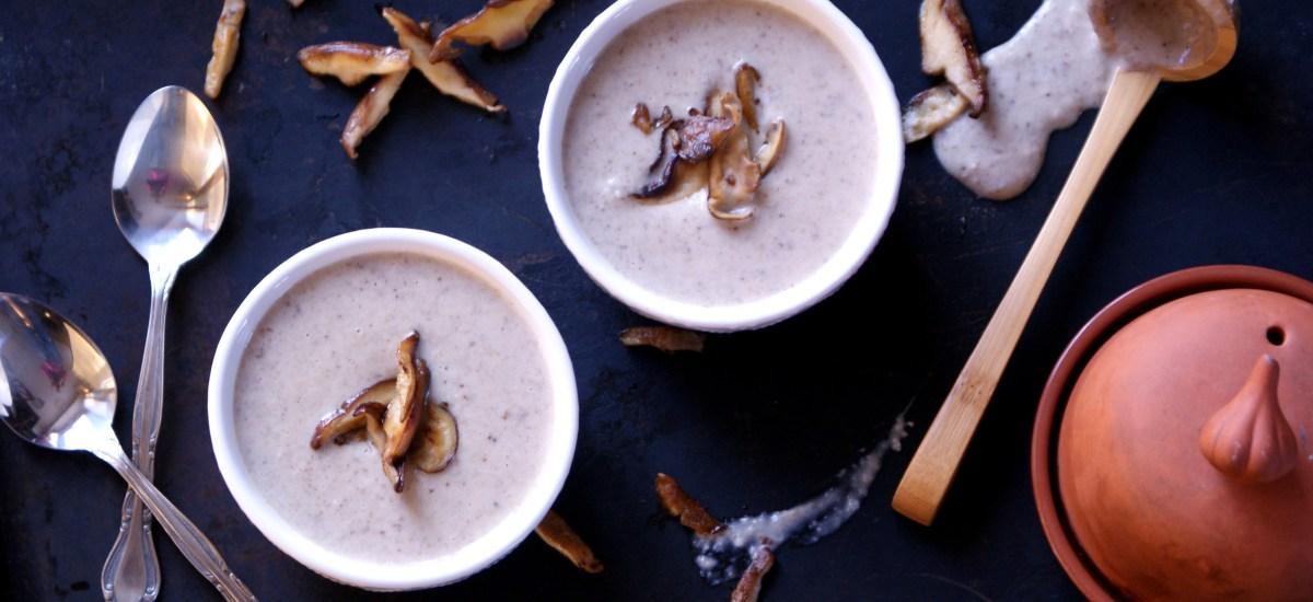 Roasted Garlic Cream of Mushroom Soup {Dairy-Free}