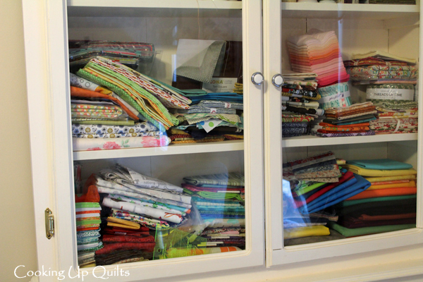 Messy Sewing Room Fabric Cabinet