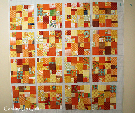 Orange Scrap Quilt Blocks