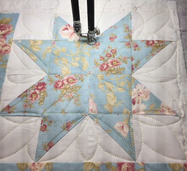 Star Block quilting
