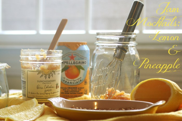Lemon and Pineapple Jam Mocktails! A fun, fruity non-alcoholic drink made from fruit jam. Get the recipe on CookingWithBooks.net