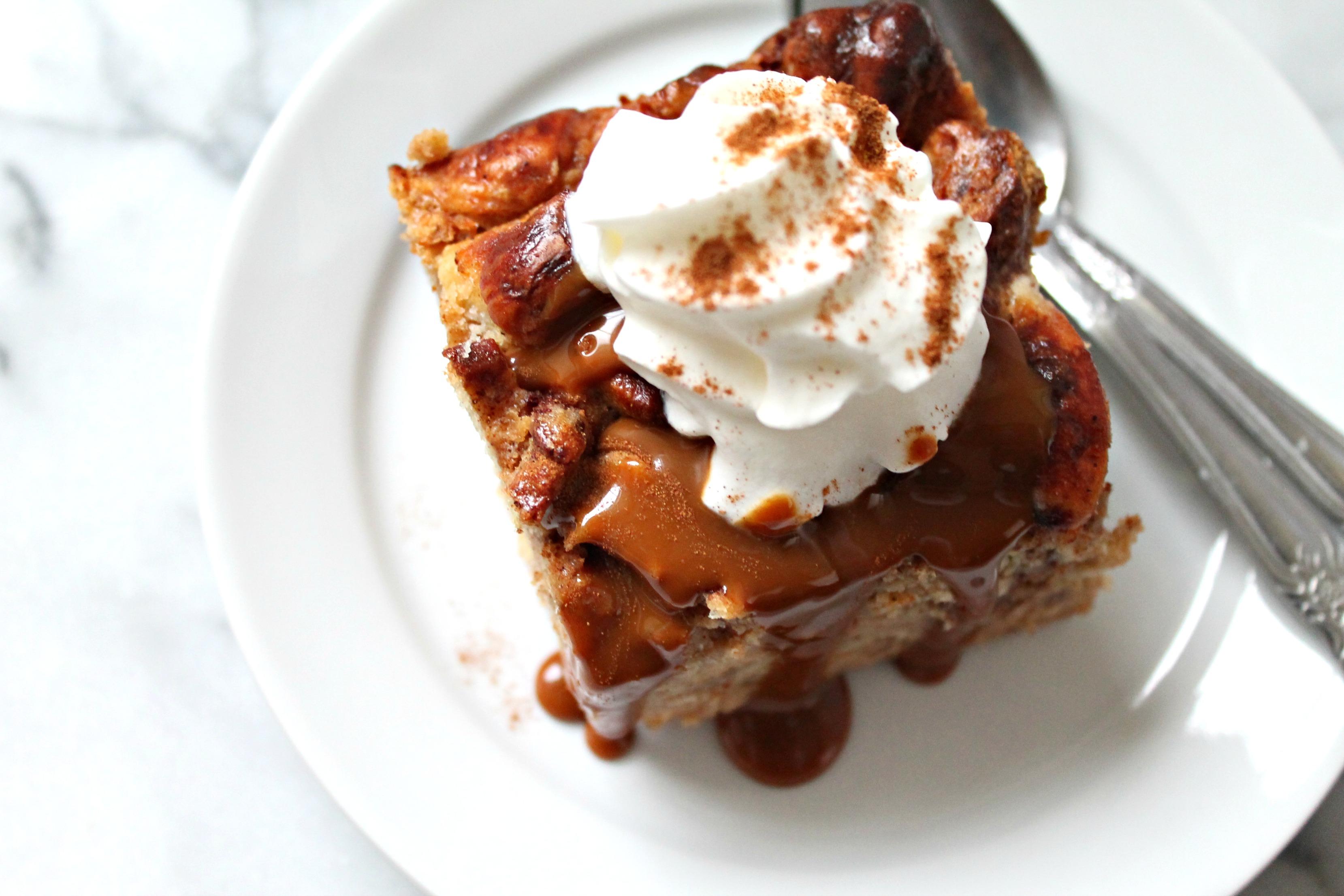 Cinnamon Roll & Dulce de Leche Bread Pudding