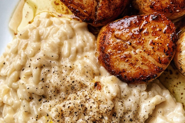 Seared Scallops & Lemon Parmesan Risotto
