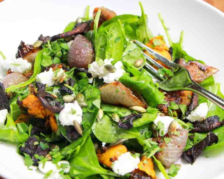 Winter Salad of Spinach, Roasted Butternut Squash and Mushroom Bacon