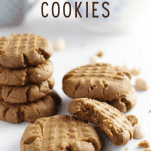 Pinterest graphic showing 15 minute peanut butter cookies in a pile - gluten-free and vegan