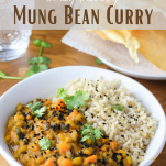 Pinterest graphic showing Family-friendly Mung Bean Curry (vegan and gluten-free)