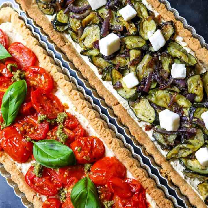 Vegan Roasted Vegetable Tart with Hummus (Gluten-Free)