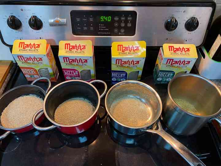 Photo of 4 pans each containing different millets and the packets behind.