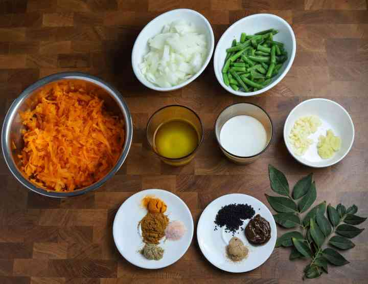 photo showing the ingredients for this vegan pumpkin curry recipe.