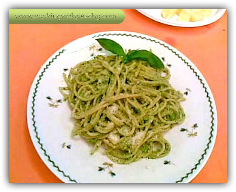 Pasta With Pesto Green Basil Sauce