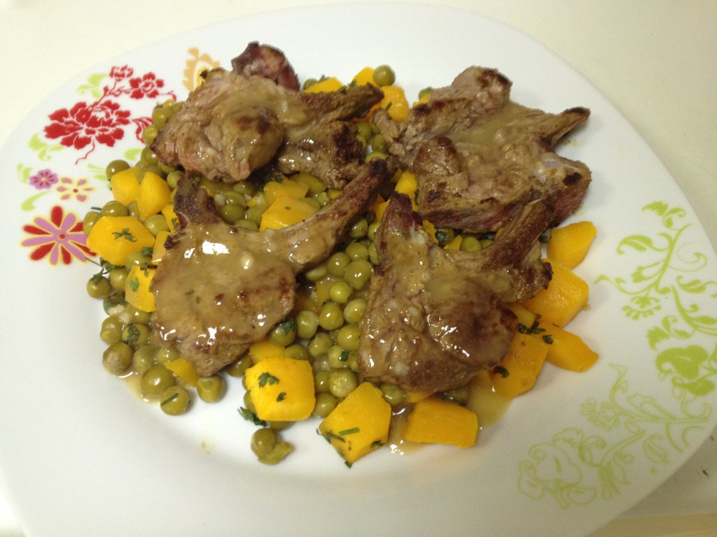 Seasoned Lamb Chops with Squash and Coriander