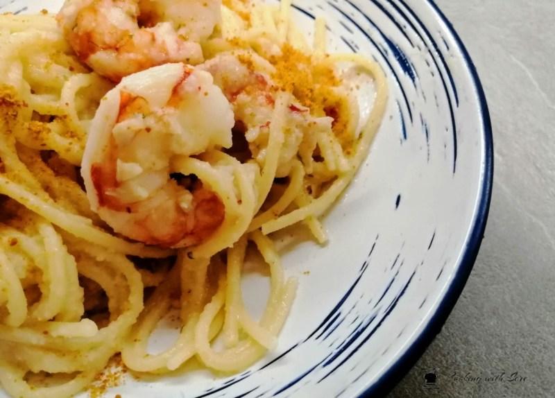 Spaghetti gamberi e bottarga