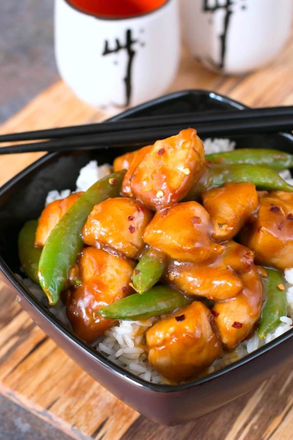 Spicy Orange Chicken & Snap Pea Bowls
