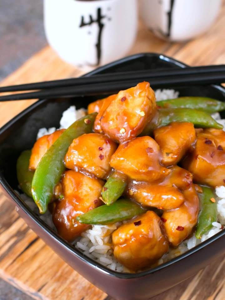 Spicy Orange Chicken Recipe With Snap Peas