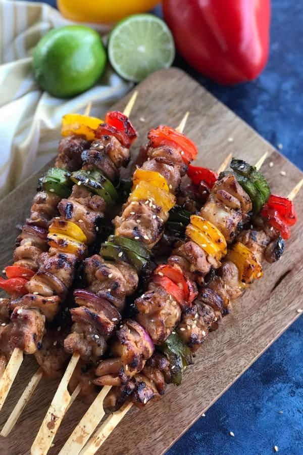BBQ Teriyaki Chicken Skewers
