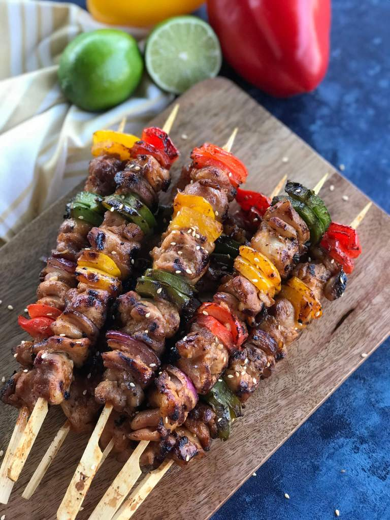 completely grilled chicken shish kabobs