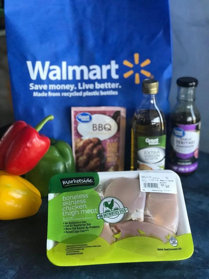Ingredients for BBQ teriyaki chicken skewers - chicken, peppers, BBQ seasoning, olive oil, teriyaki sauce