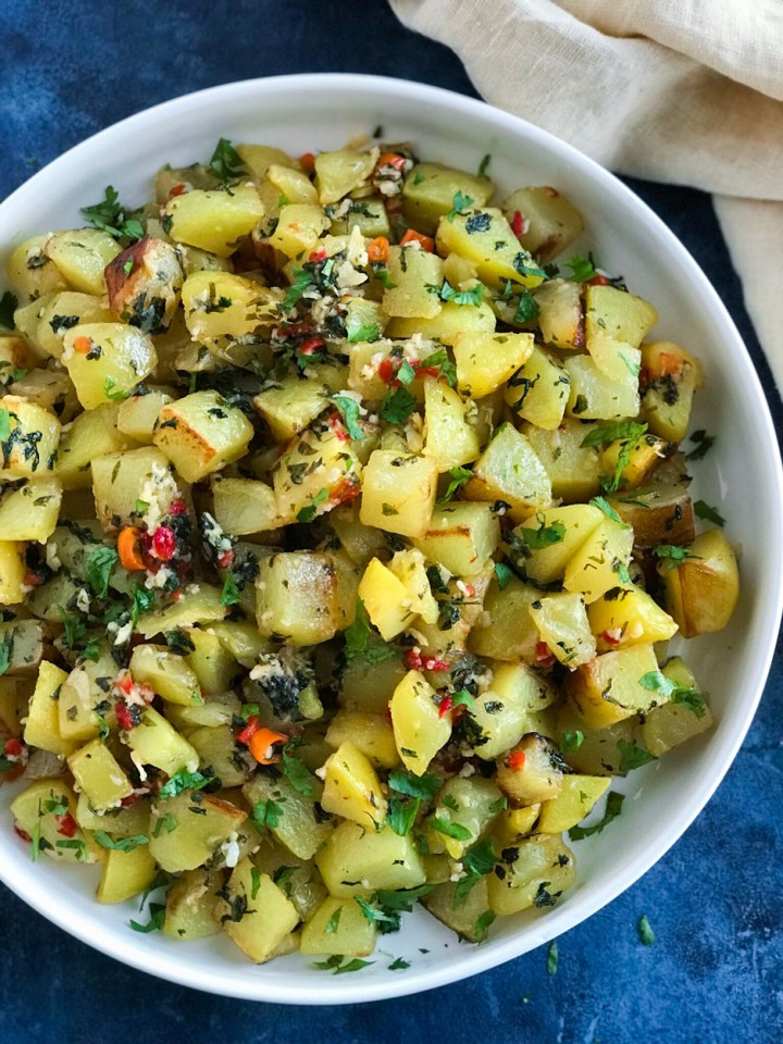 Lebanese Spicy Potatoes in a white bowl