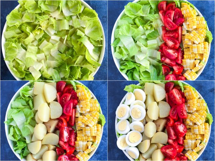 Four shots to show how to build the salad