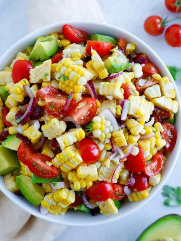 Super simple corn salad recipe with added avocados