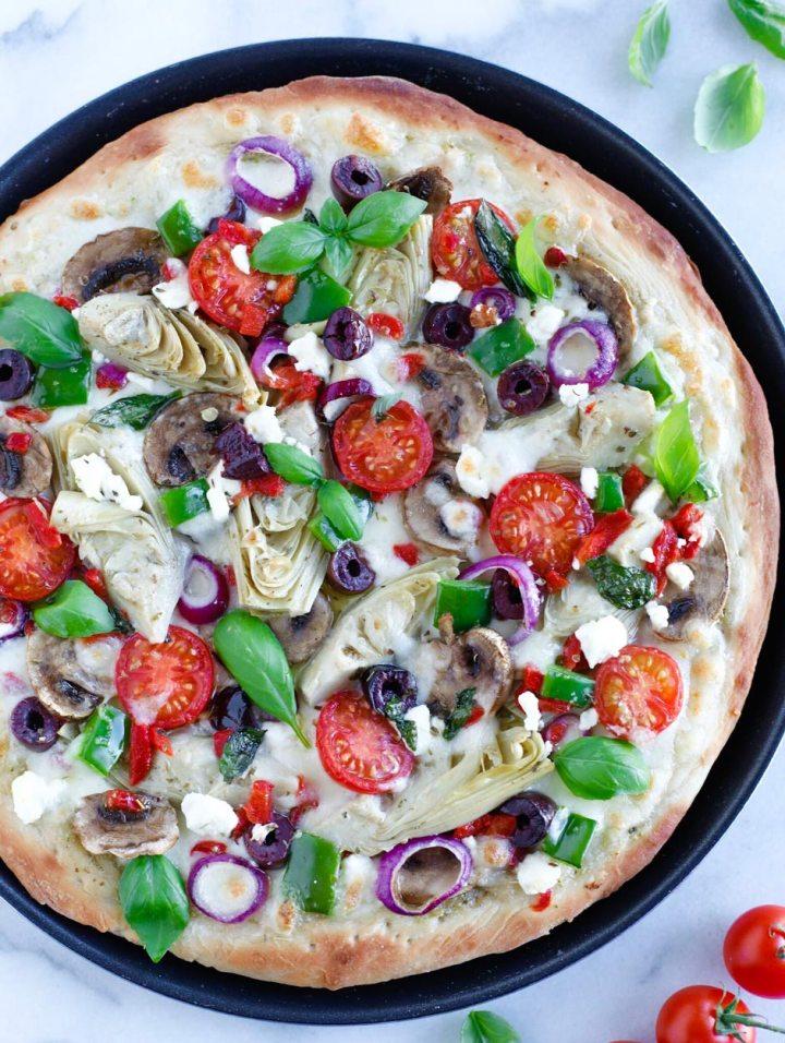 Mediterranean Veggie Pizza in a pan