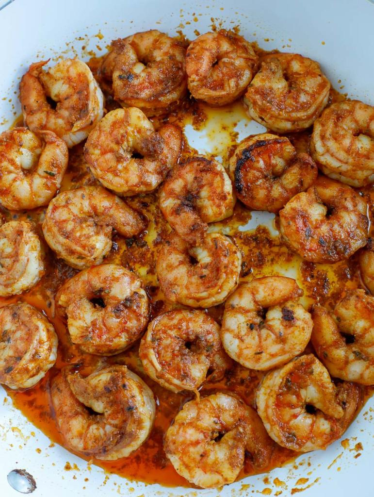 shrimp sauteed in a skillet
