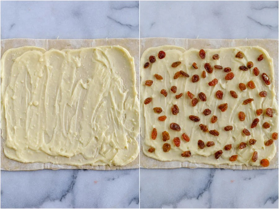 A side by side photo of pain aux raisins. The left side shows the puff pastry with cream and the right side shows the puff pastry with cream topped with raisins.