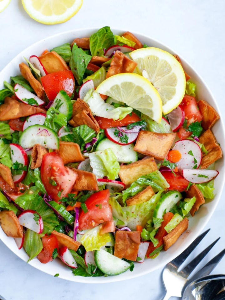 Lebanese Fattoush salad served as appetizer