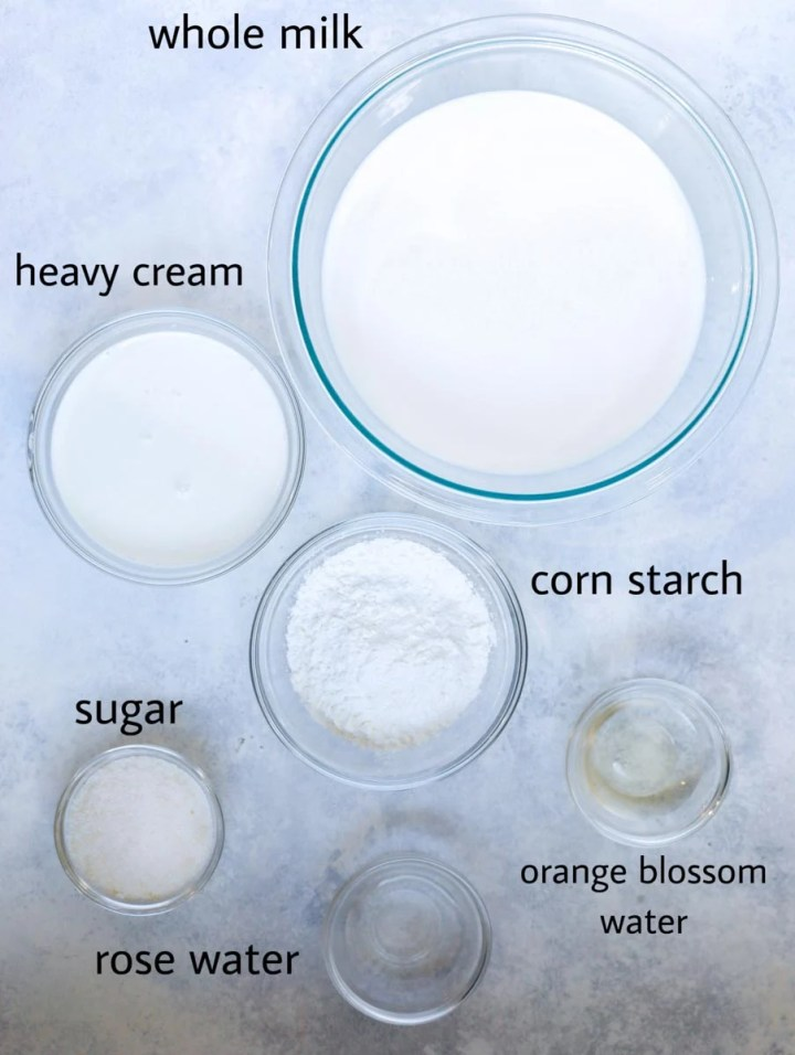 ingredients for ashta cream, milk, sugar, corn starch, heavy cream, orange blossom water, rose water