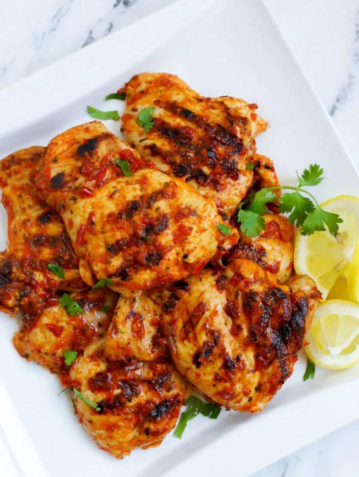a plate of Harissa Chicken