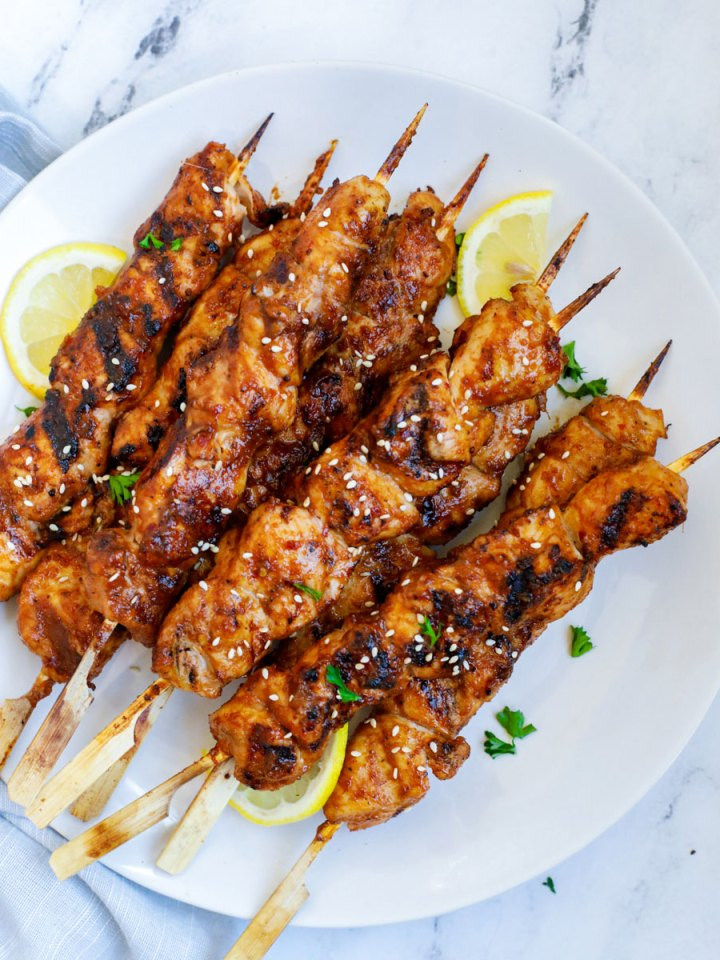 Korean BBQ Chicken Skewers on a plate