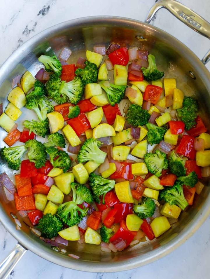 veggies in a skillet
