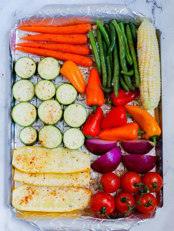 vegetables before grilling seasoned