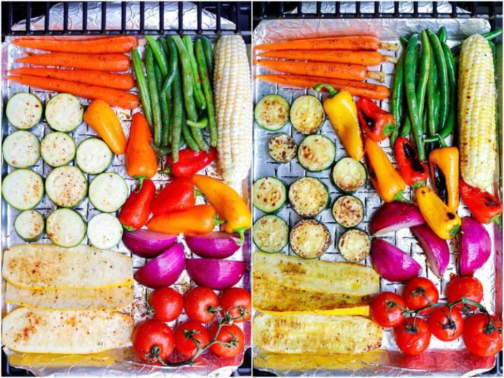 side by side shot of Best Grilled Vegetables