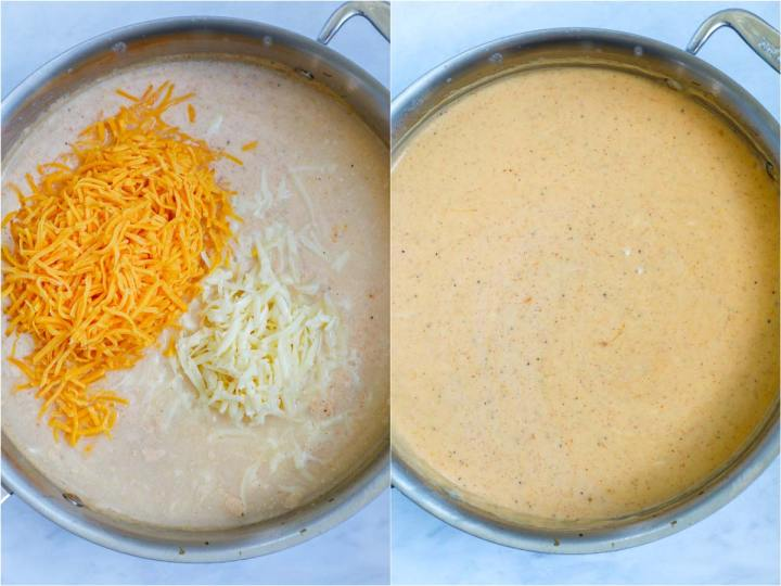 cooking cheese sauce in a pot