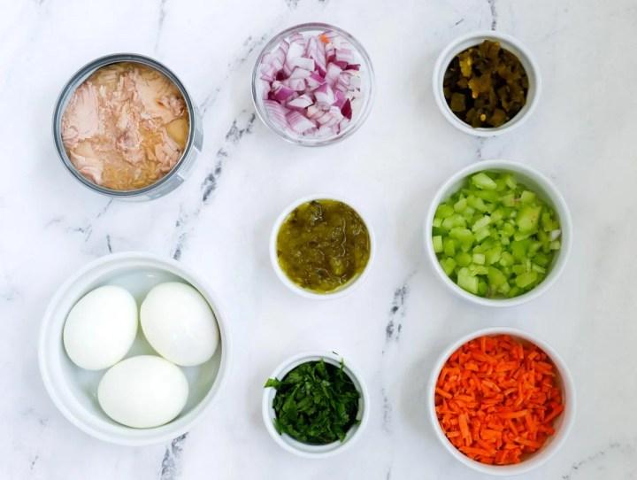 ingrédients pour la recette de salade de pâtes au thon