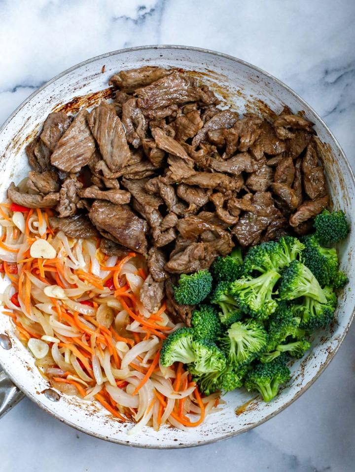 top down shot of Beef and Broccoli Stir Fry in a bowl