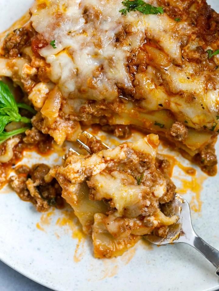 close up of meat lasagna.
