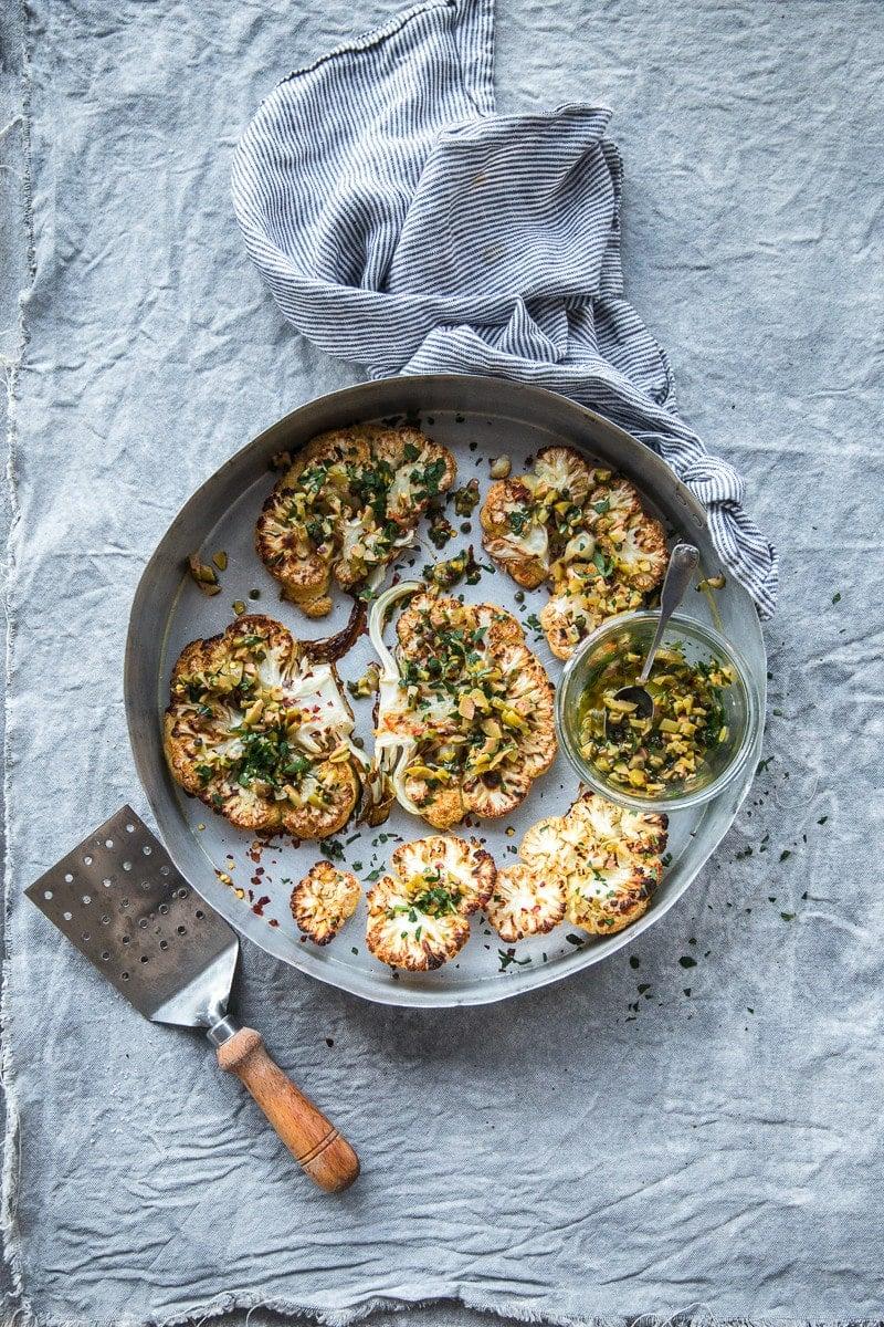 Cauliflower Steaks With Olive And Caper Salsa - Cook Republic #vegan #glutenfree