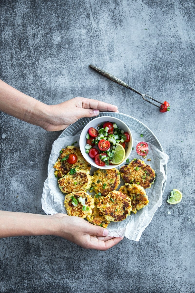 Paneer Chilli And Charred Corn Fritters - Cook Republic