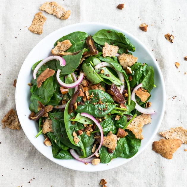 Baby Spinach Salad With Dates And Almonds Recipe By Cooks And Kid