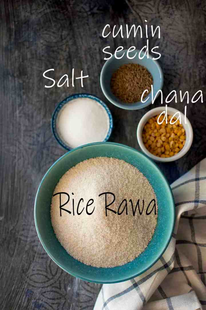 Ingredients needed - cream of rice, salt, cumin seeds and chana dal