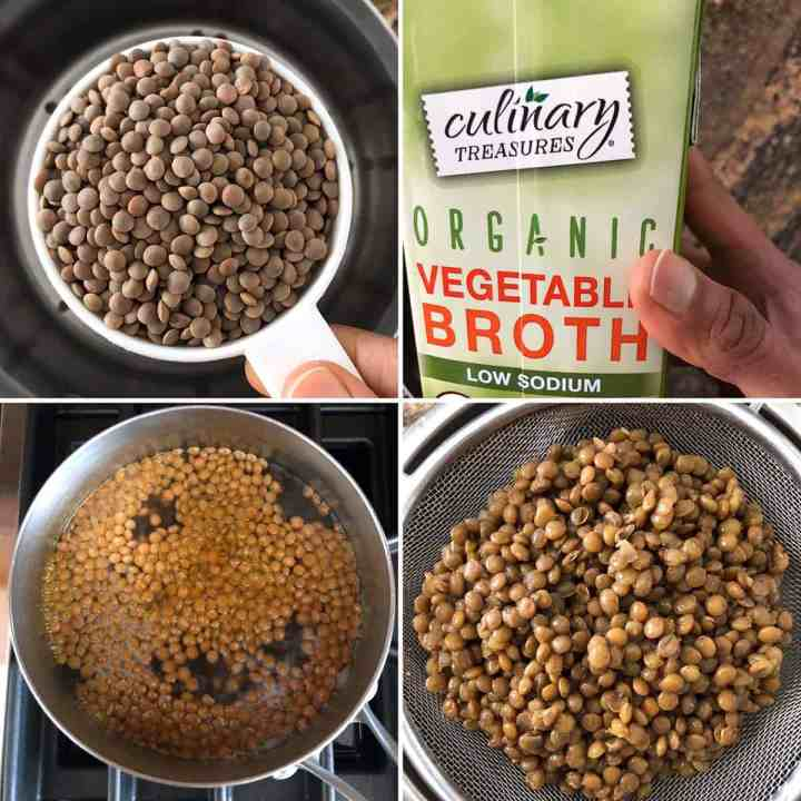 Step by step photos showing brown lentils, vegetable broth - simmering and cooked lentils