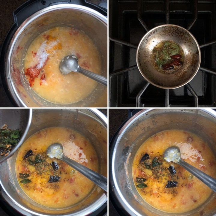 Step by step photos showing cooking of moong dal