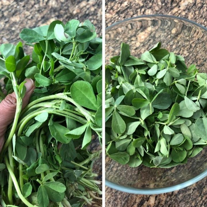 Bunch of methi leaves and a bowl of prepped leaves