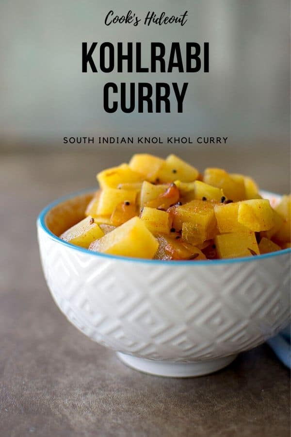 White bowl with knol khol curry